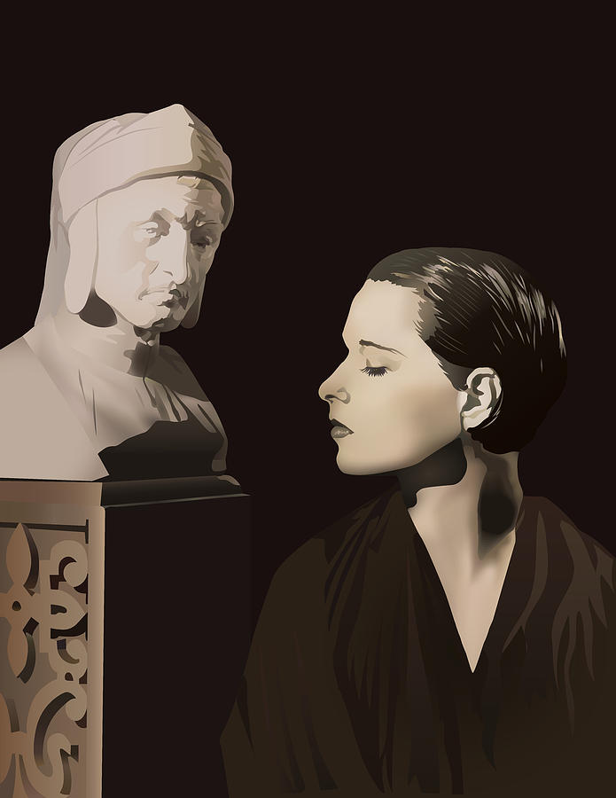 Louise Brooks Digital Art - Louise Brooks with bust of Dante Alighieri  by Louise Brooks