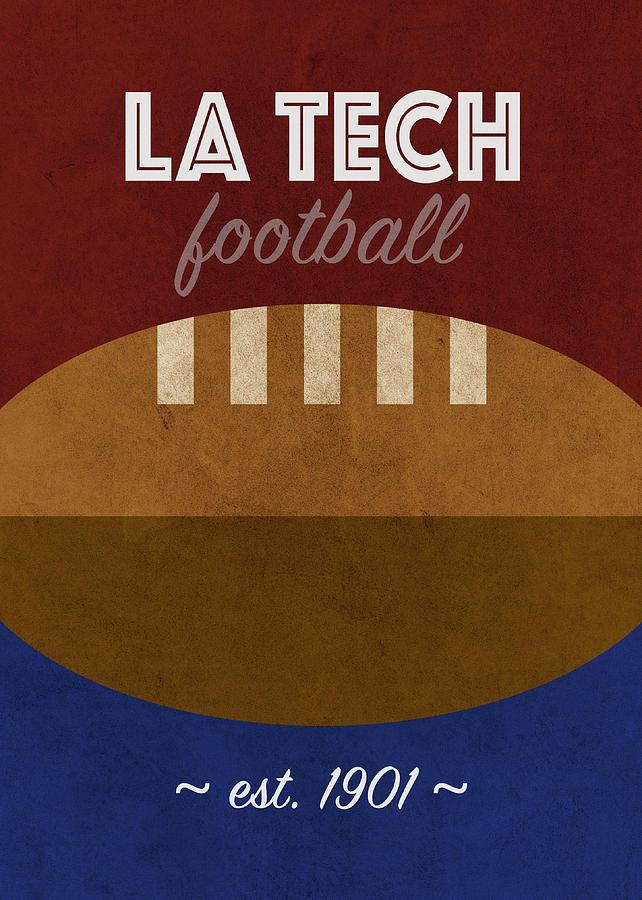 Louisiana Tech Mixed Media - Louisiana Tech Football College Sports Retro Vintage University Poster Series by Design Turnpike