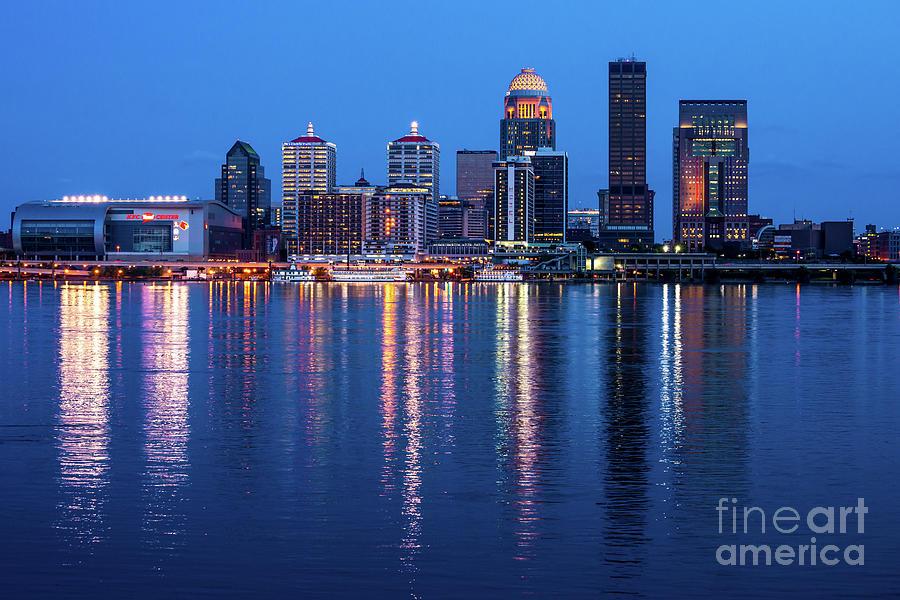 Louisville Kentucky Skyline After Sunset - Ohio River by Gary Whitton