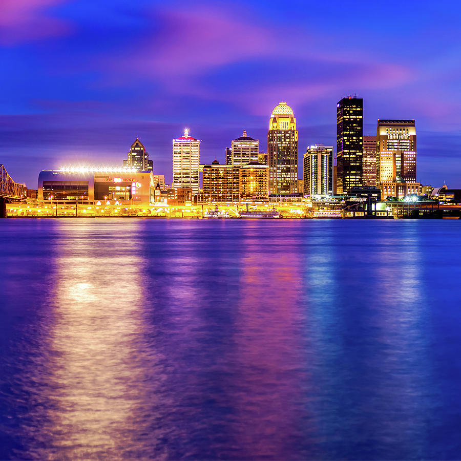 Louisville Skyline Over The Ohio River - Square Format Photograph