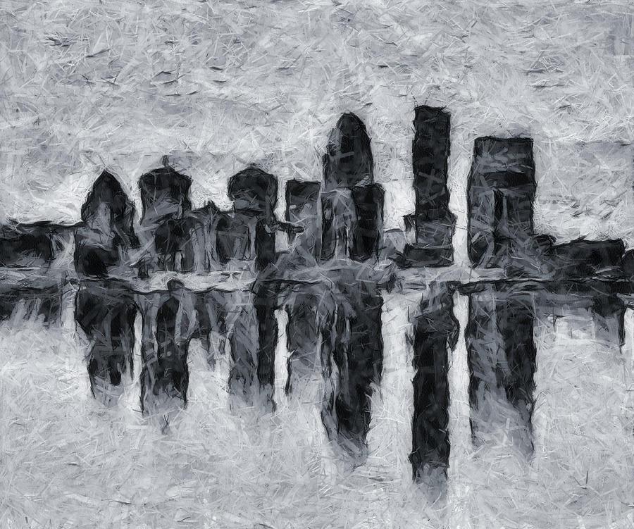 Louisville Skyline Silhouette Reflection by Dan Sproul