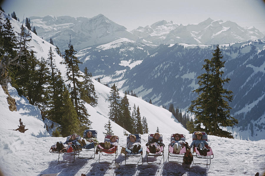 Gstaad Photograph - Lounging In Gstaad by Slim Aarons