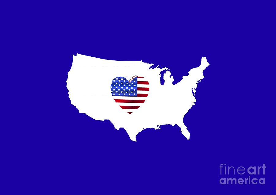 Love America Map by Barefoot Bodeez Art