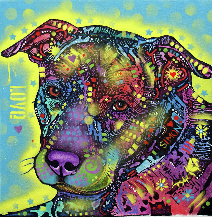 Love and Pitbulls by Dean Russo Art