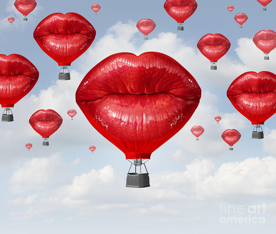 Love Digital Art - Love Balloons As A Hot Air Balloon Made by Lightspring