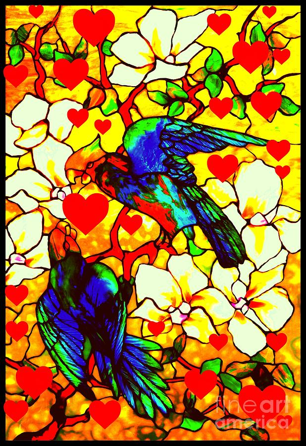 Love Birds In The Love Tree With Hibiscus Glass Art By Peter Ogden Gallery And Louis Comfort Tiffany