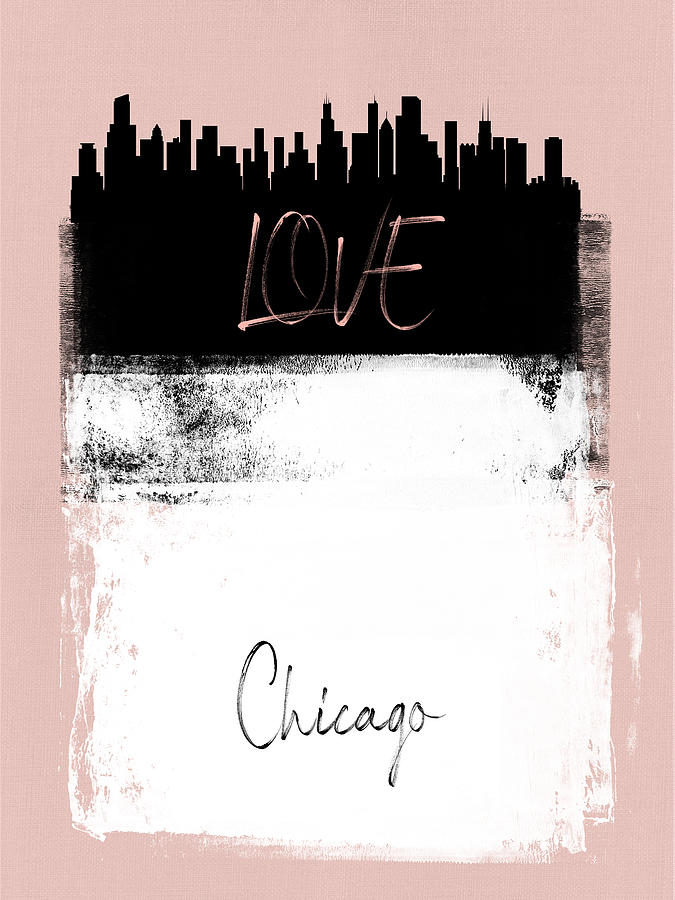Chicago Mixed Media - Love Chicago by Naxart Studio