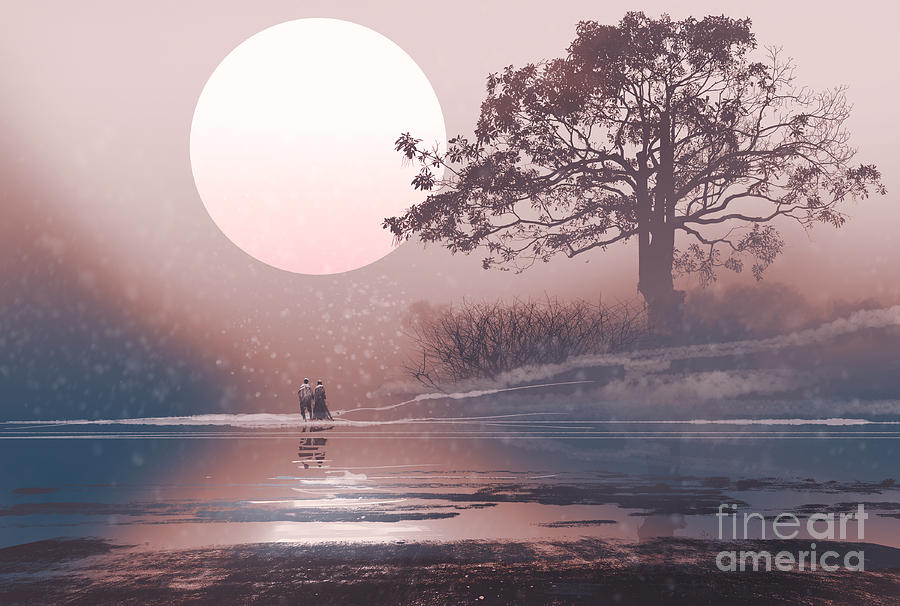 Love Digital Art - Love Couple In Winter Landscape With by Tithi Luadthong