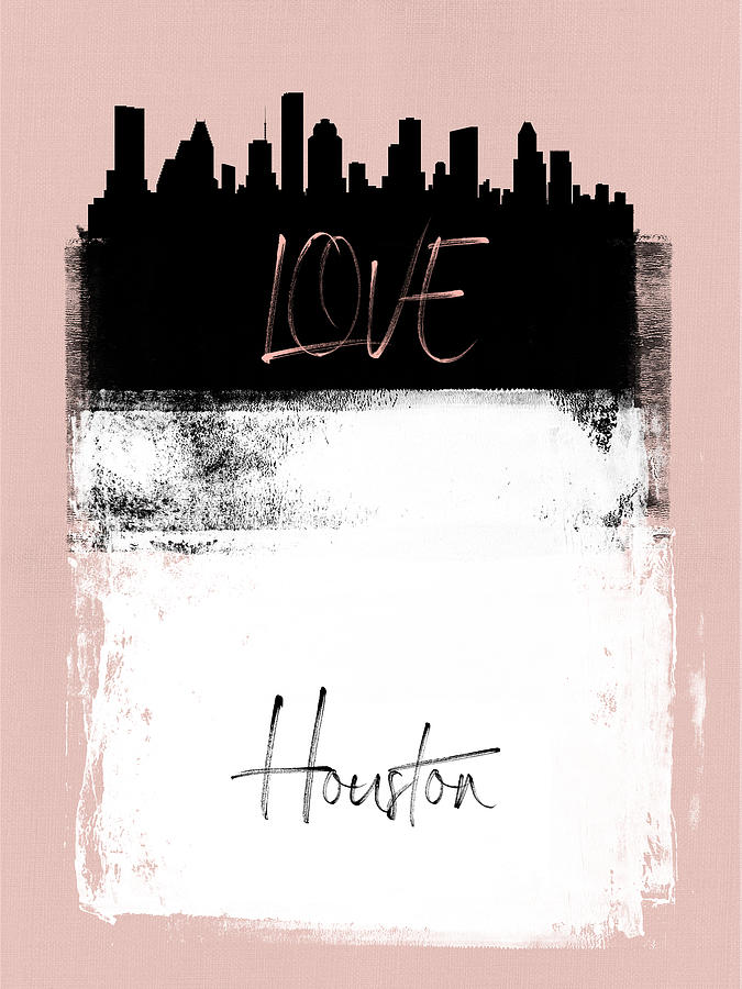 Houston Mixed Media - Love Houston by Naxart Studio