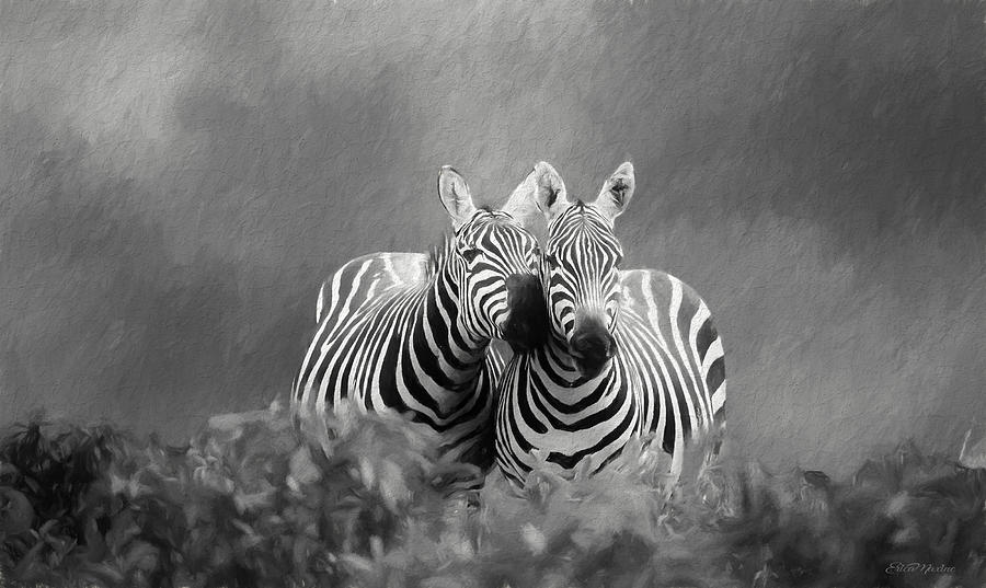 Love in Black and White - Painting by Ericamaxine Price