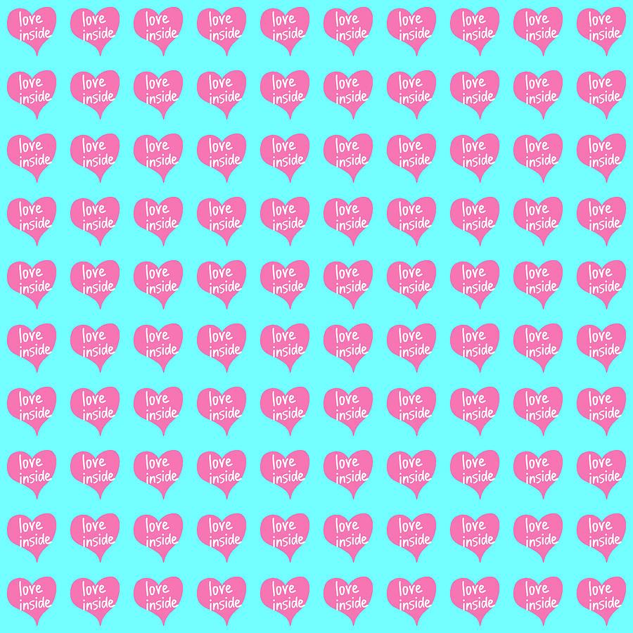 Symbol Digital Art - Love inside pink heart on blue background by Elena Sysoeva