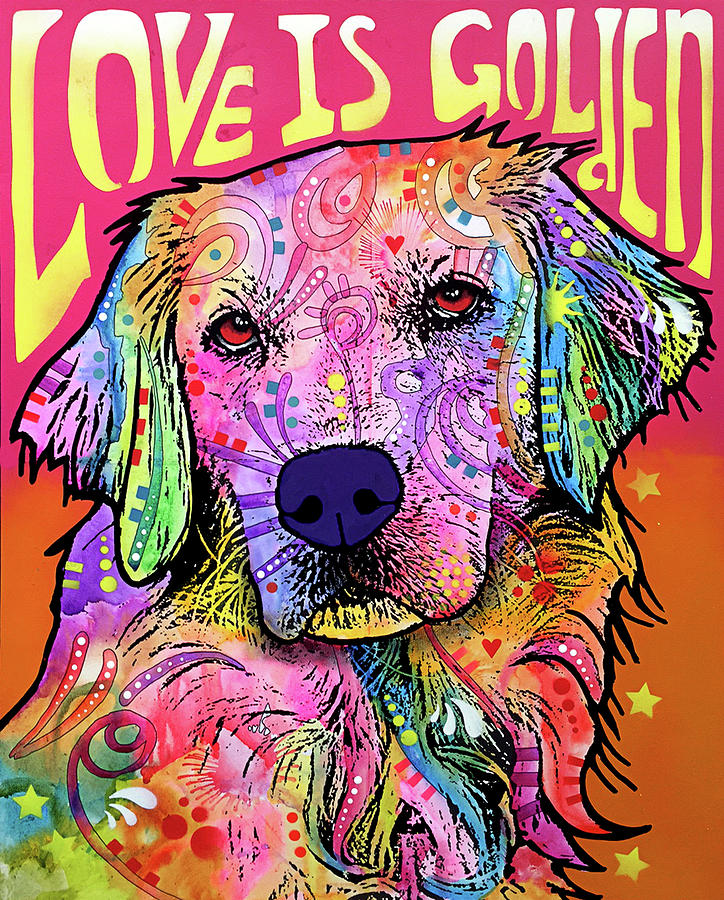 Domestic Dogs Mixed Media - Love Is Golden by Dean Russo