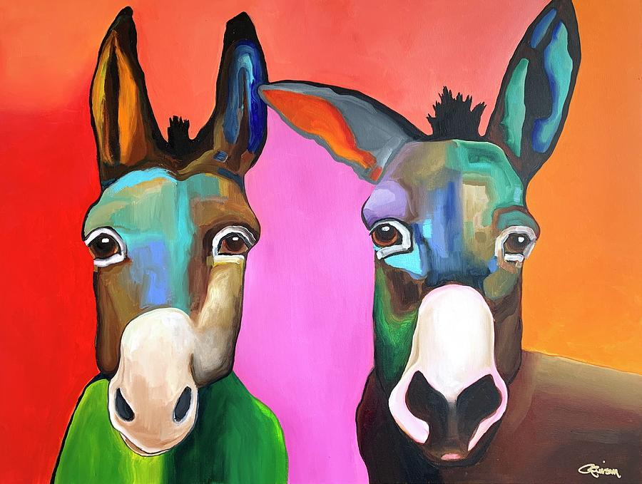 Donkeys Painting - Love Is In The Air by Crimson Shults
