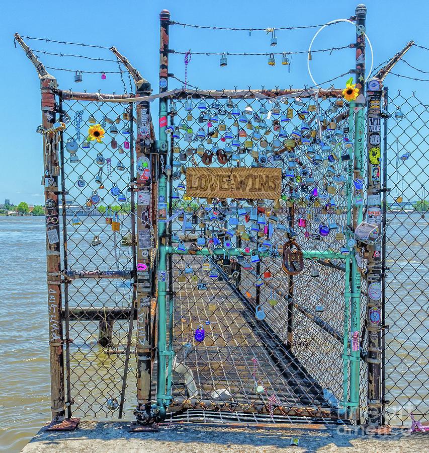 Love, Locks, Mississippi River NOLA by Kathleen K Parker