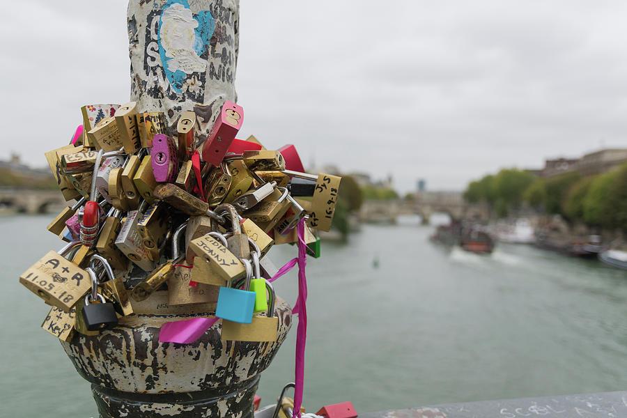 Love Locks Overlook The Seine Photograph