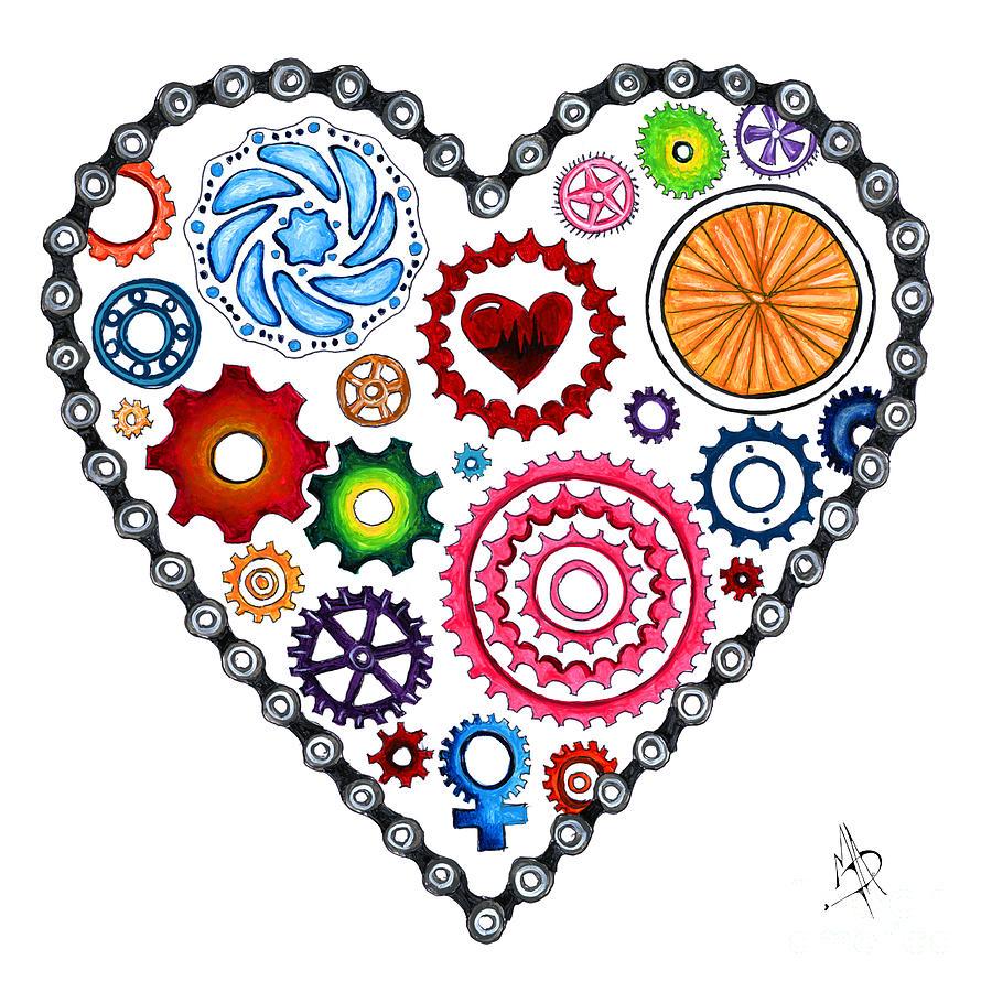 Love Makes the World Go Round Cycling Biking Painting Original Heart Art by Megan Duncanson by Megan Duncanson