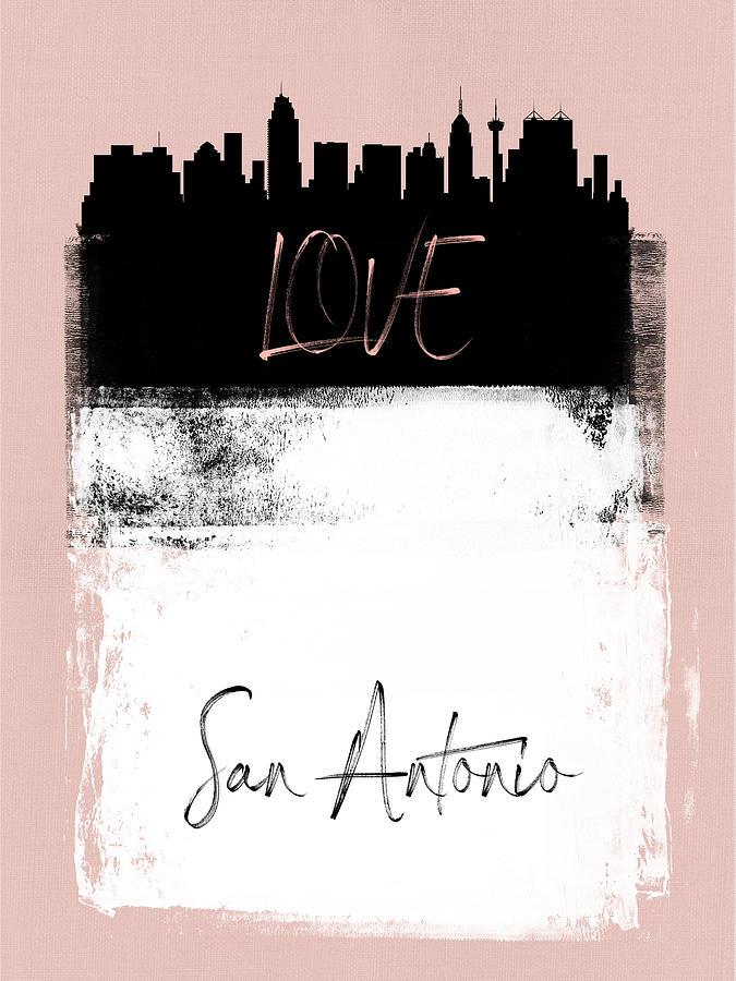 San Antonio Mixed Media - Love San Antonio by Naxart Studio