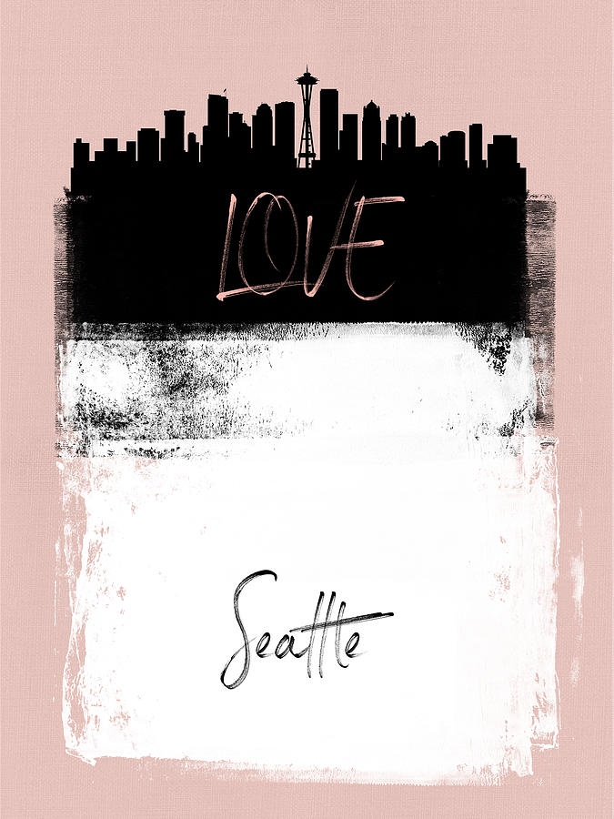 Seattle Mixed Media - Love Seattle by Naxart Studio