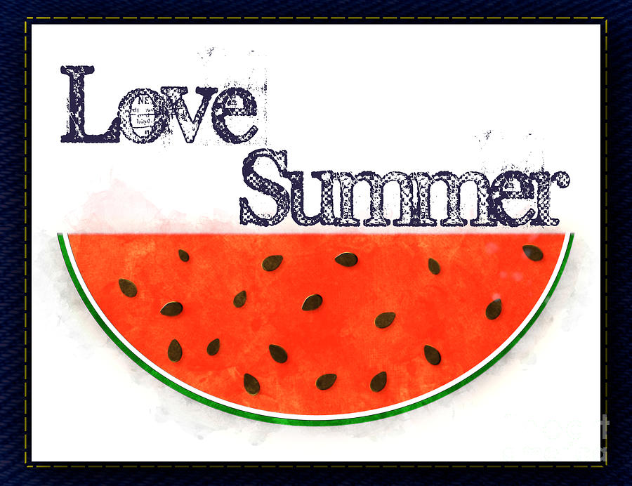 Love Summer - Watermelon Watercolor by Colleen Cornelius
