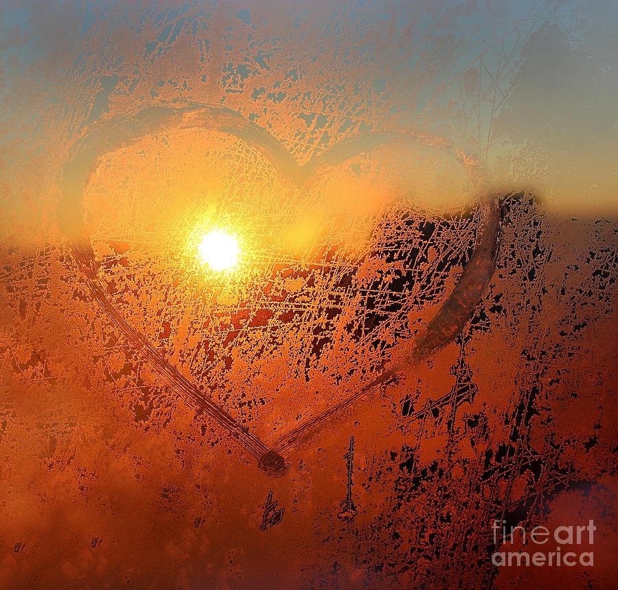 Sparkle Photograph - Love Symbol Drawn On The Frozen Winter by Artdi101