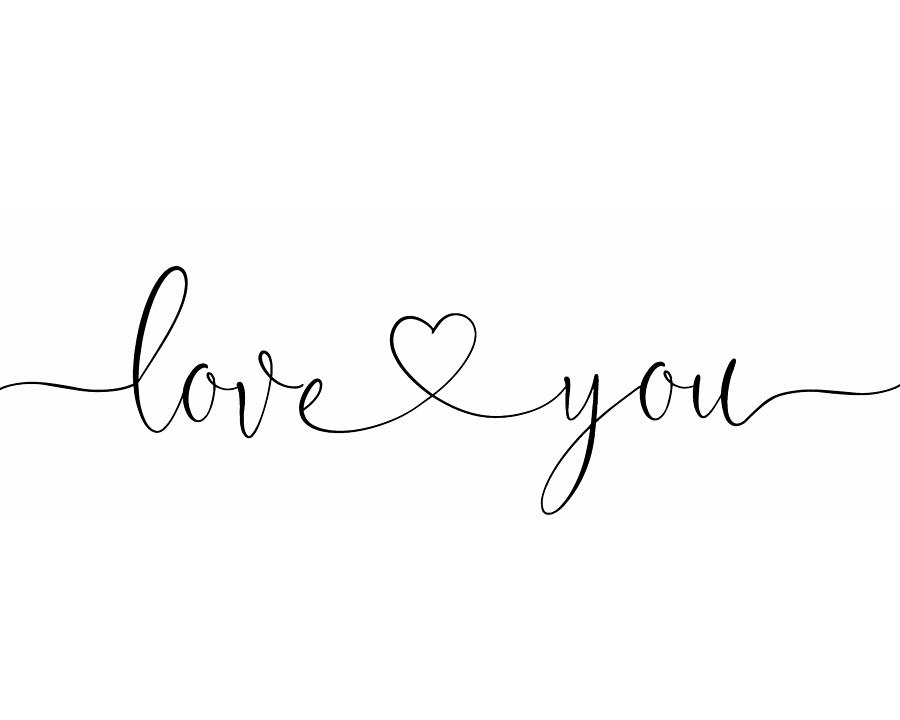 Love You Black On White Photograph