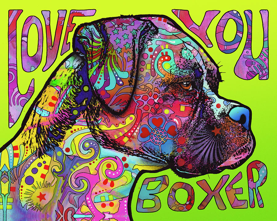 Dogs Mixed Media - Love You Boxer by Dean Russo