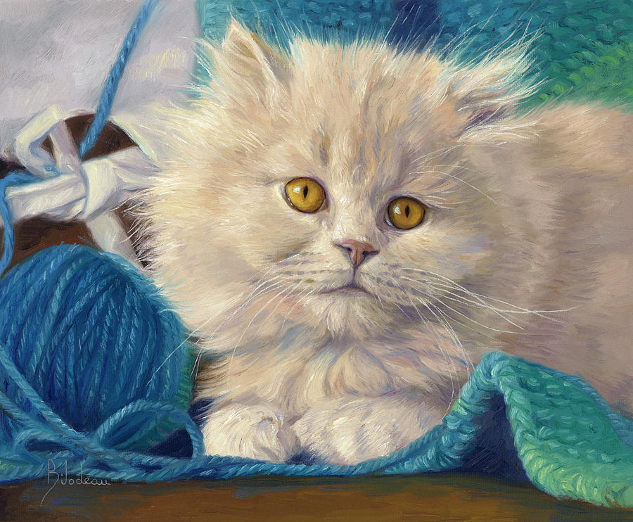 Kitten Painting - Loveable by Lucie Bilodeau