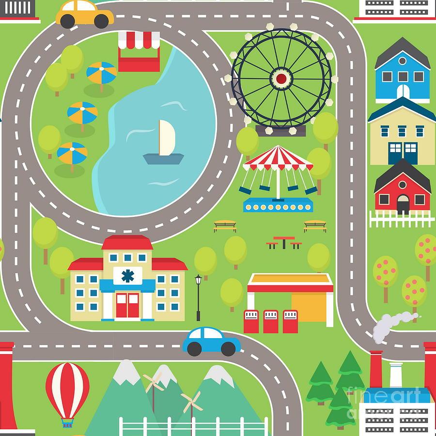 Play Digital Art - Lovely City Landscape Car Track by Medejaja