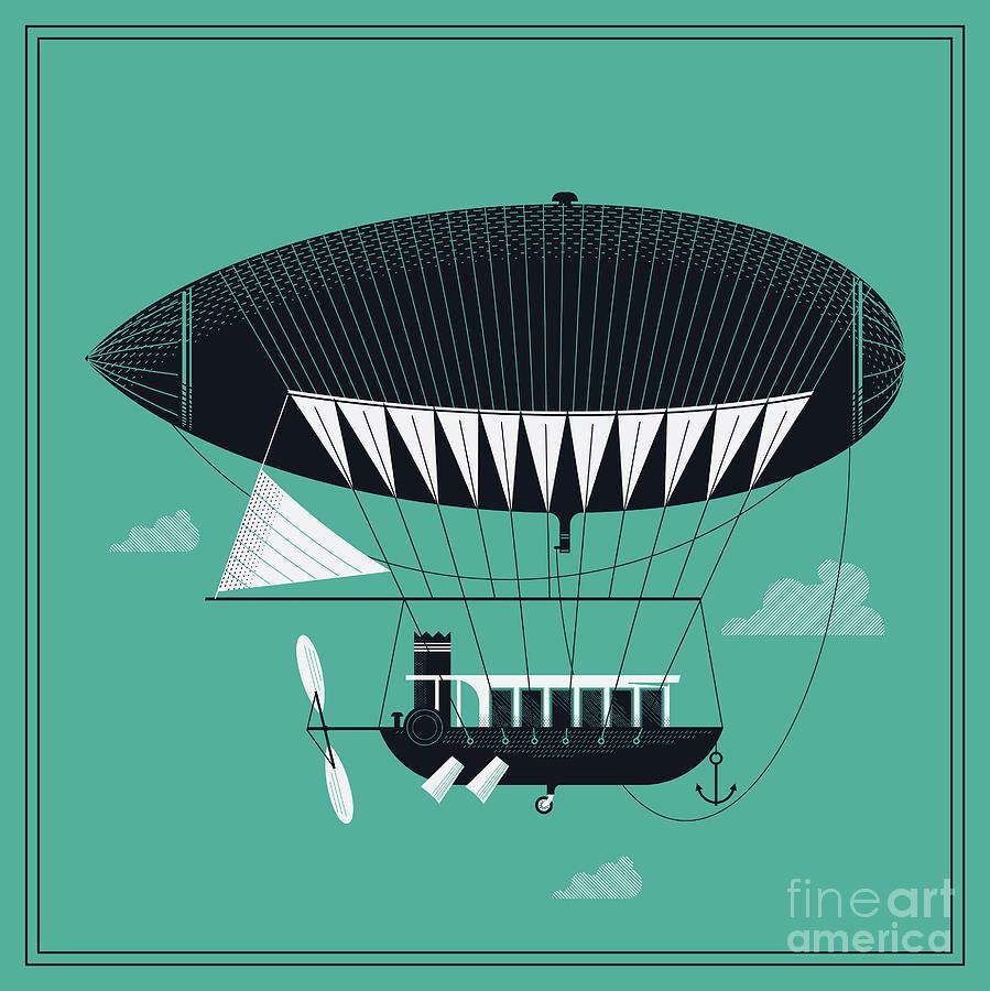 Fiction Digital Art - Lovely Vector Airship Illustration | by Mascha Tace