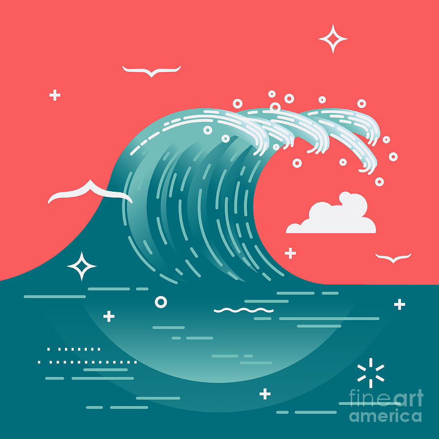 Symbol Photograph - Lovely Vector Background On Large Ocean by Mascha Tace
