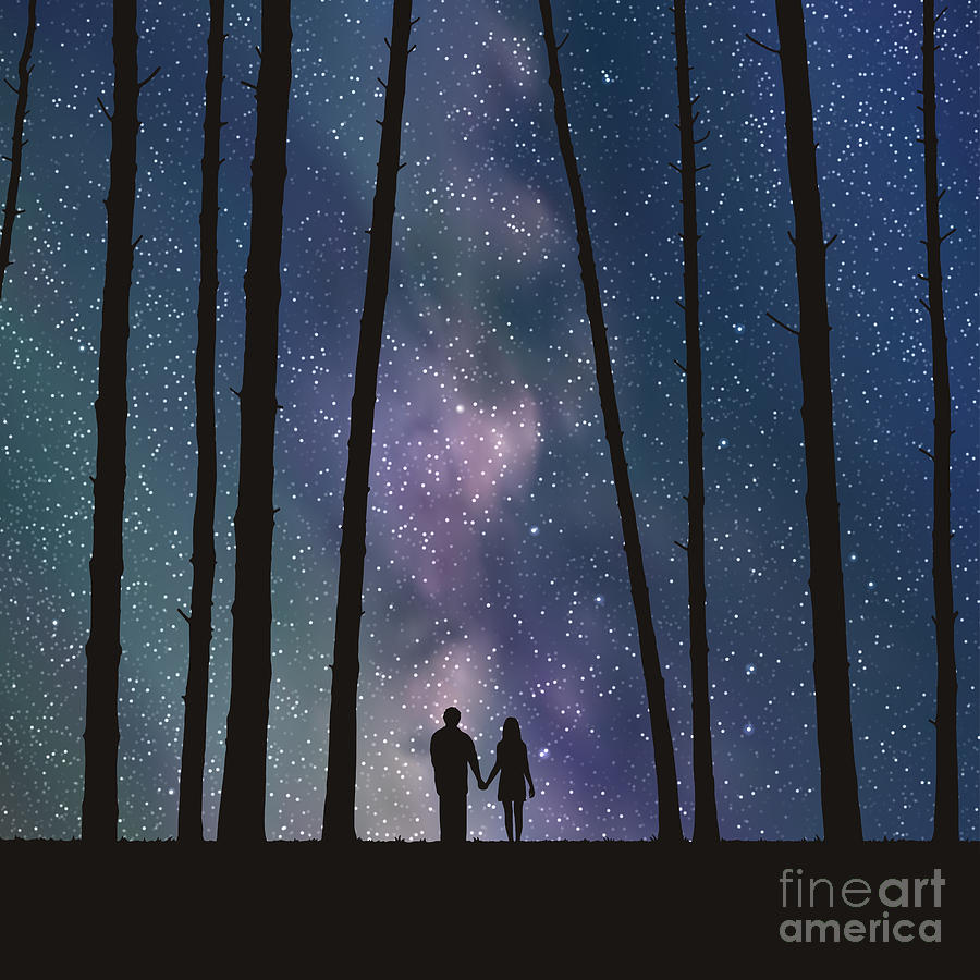 Love Digital Art - Lovers In Forest. Vector Illustration by Arvitalyaa
