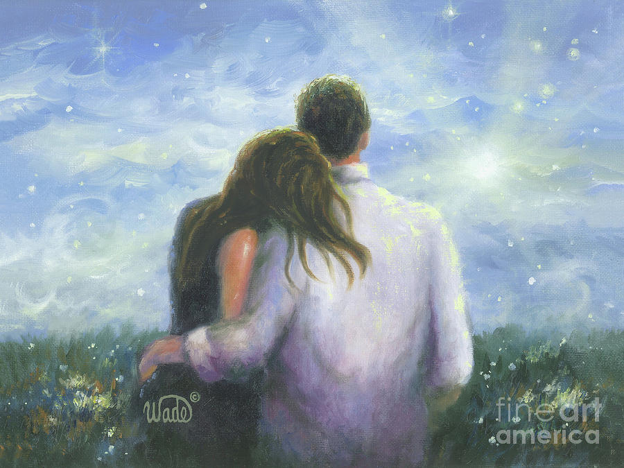 Loving Couple Painting - Lovers Looking Forward Brunettes by Vickie Wade