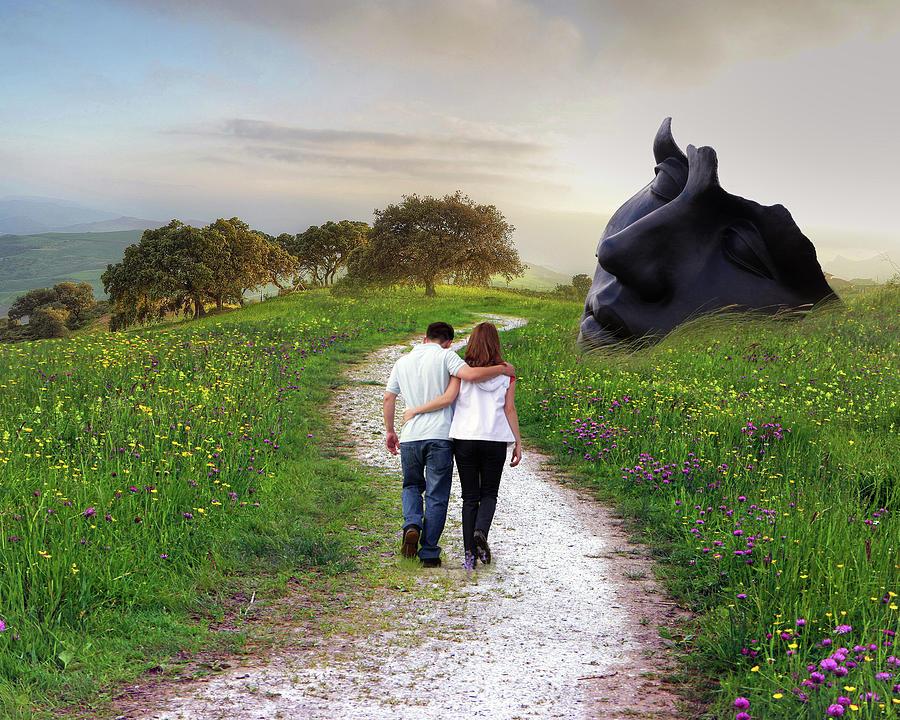 Lovers Walk Mixed Media by Ata Alishahi