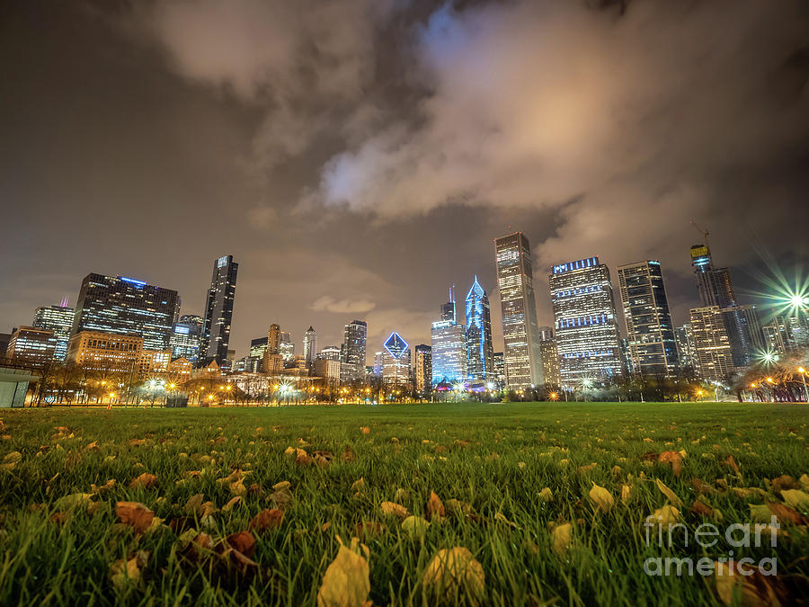 Downtown Photograph - Low Angle Picture Of Downtown Chicago Skyline During Winter Nigh by PorqueNo Studios