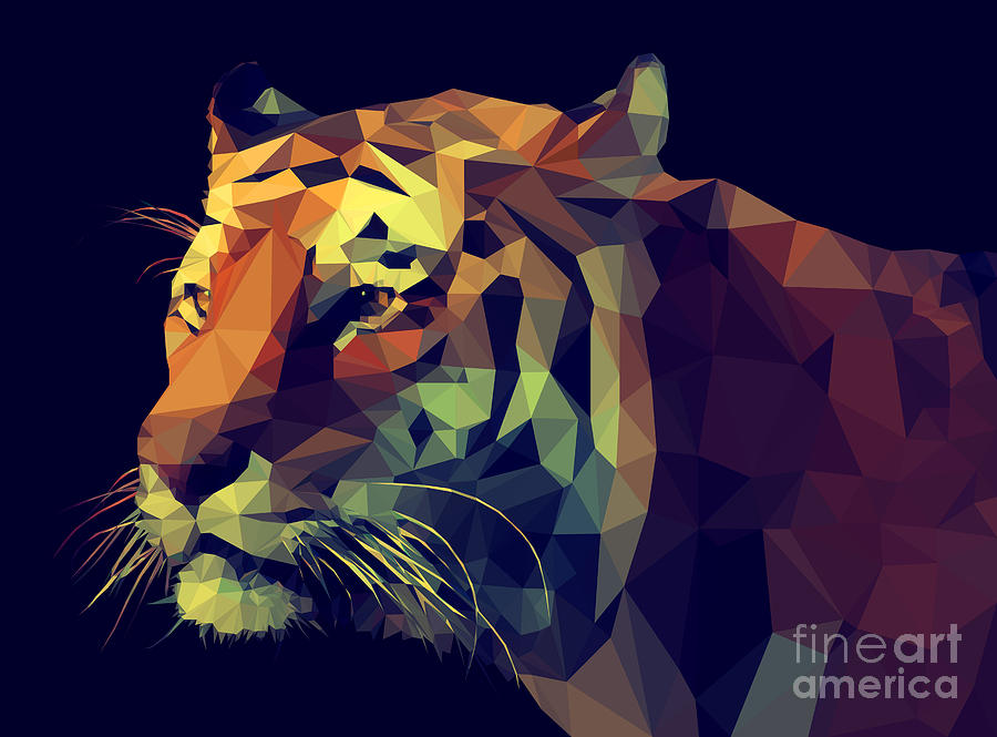 Symbol Digital Art - Low Poly Design. Tiger Illustration by Kundra