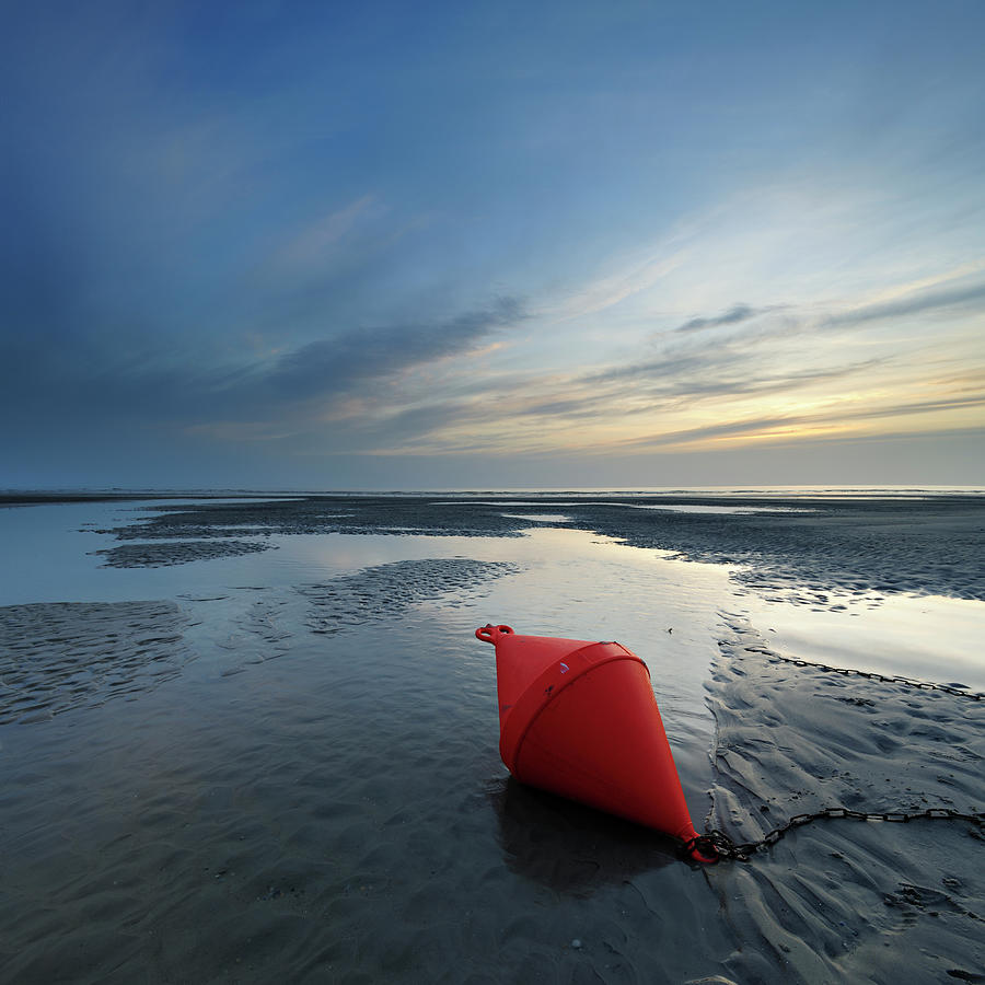 Low Tide Seascape With Buoy In Tidal Photograph by Avtg