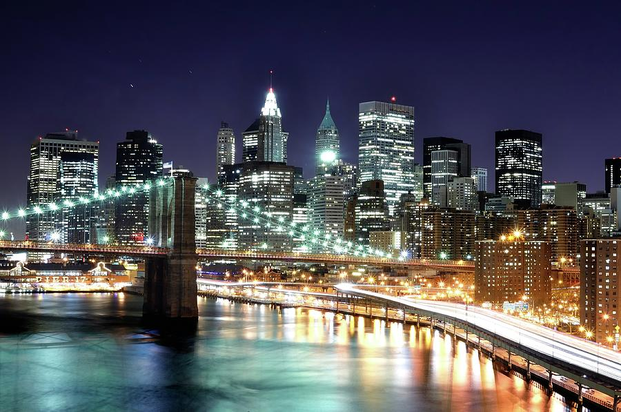 Lower Manhattan At Night From The Photograph by Andrew C Mace