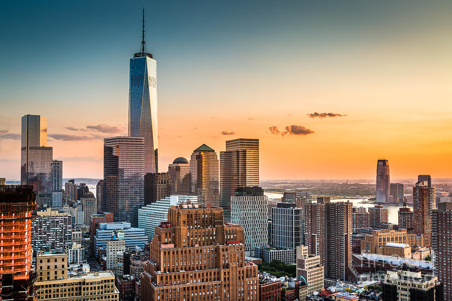 Usa Photograph - Lower Manhattan Skyline At Sunset by Mandritoiu