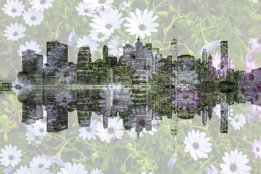 Lower Manhattan Skyline Floral by Az Jackson
