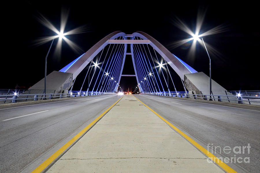 Lowry Ave Bridge Minneapolis, Minnesota at night by Steven Liveoak