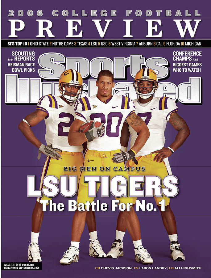 Lsu Laron Landry, Ali Highsmith, And Chevis Jackson Sports Illustrated Cover Photograph by Sports Illustrated