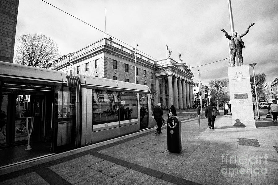 Statue Photograph - Luas The Gpo And Jim Larkin Statue On Oconnell Street Dublin Republic Of Ireland Europe by Joe Fox
