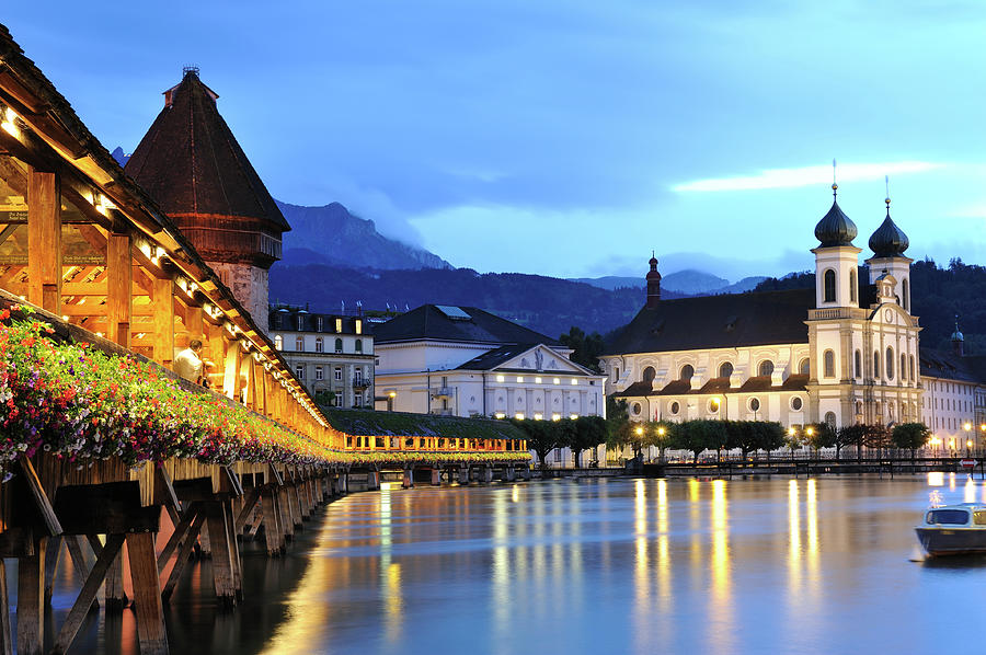 Lucerne At Dusk Photograph by Aimintang