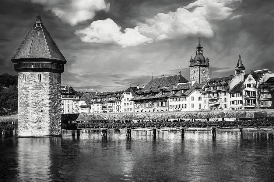 Lucerne Switzerland Kapellbrucke And Water Tower Black And White Photograph