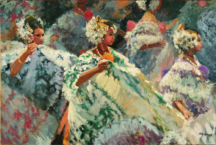 Polleras Painting - Luchos Music by Al Sprague