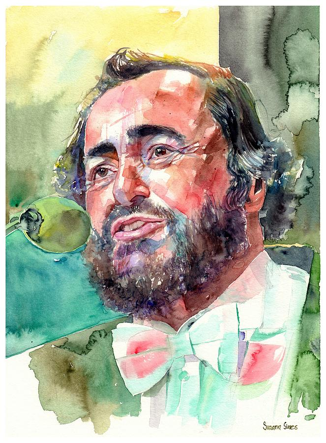 Luciano Pavarotti Painting - Luciano Pavarotti Portrait by Suzann Sines
