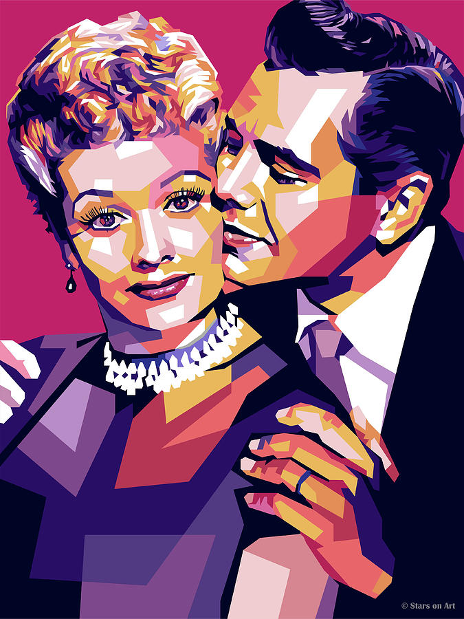 Lucille Digital Art - Lucille Ball And Desi Arnaz by Stars on Art