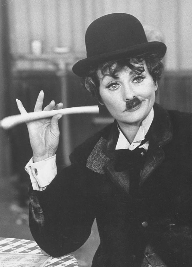 Lucille Ball Dressed As Charlie Chaplin Photograph by Ralph Crane