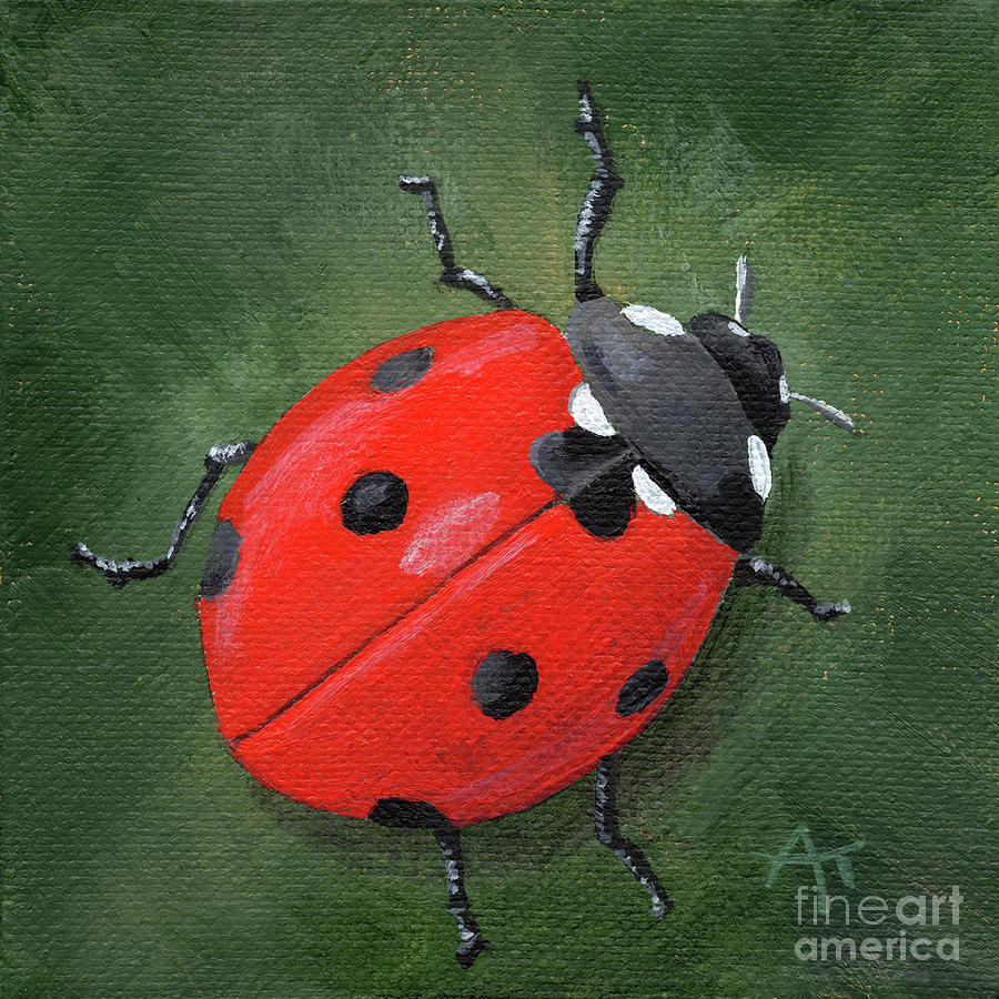 Lucky Ladybug Painting by Annie Troe