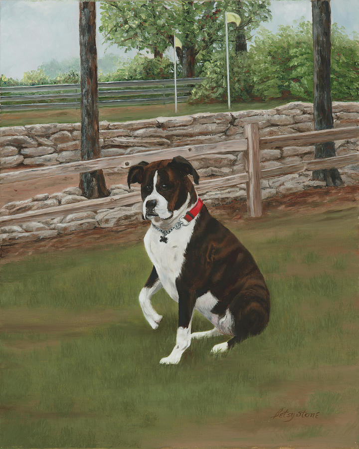 Boxer Painting - Lucy by Alice Betsy Stone